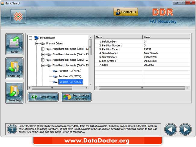 Windows FAT data restoration application