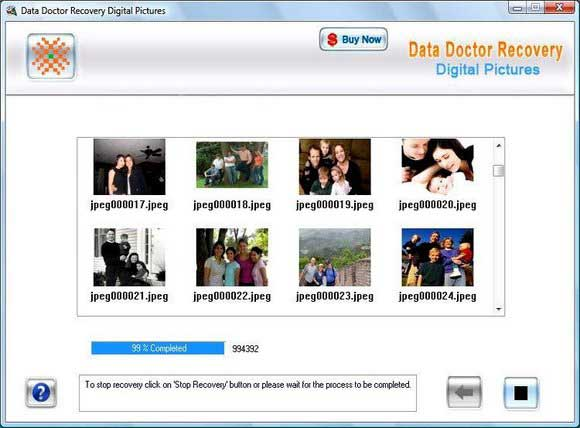 Digital images recovery Software screenshot