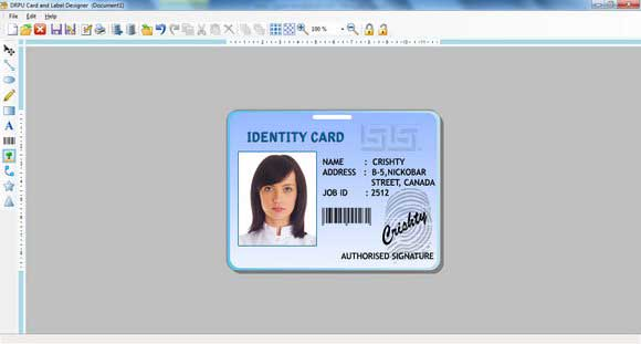 Screenshot of Business Card Designer Software
