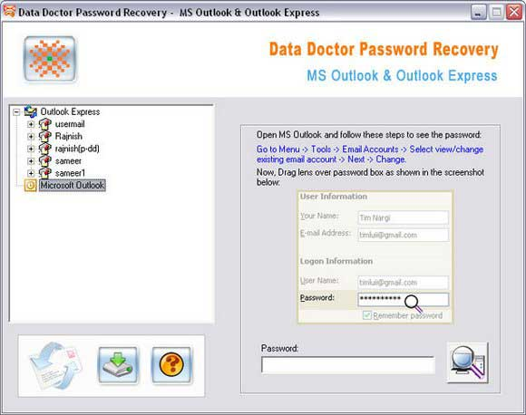 Program review outlook express lost password