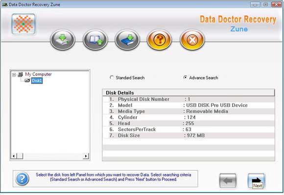 Screenshot vom Programm: Zune Data Restoration Tool