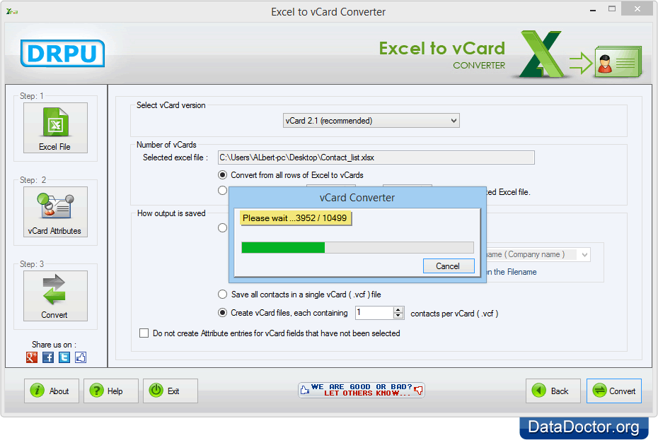 Excel to vCard converter to import Excel Contacts into
