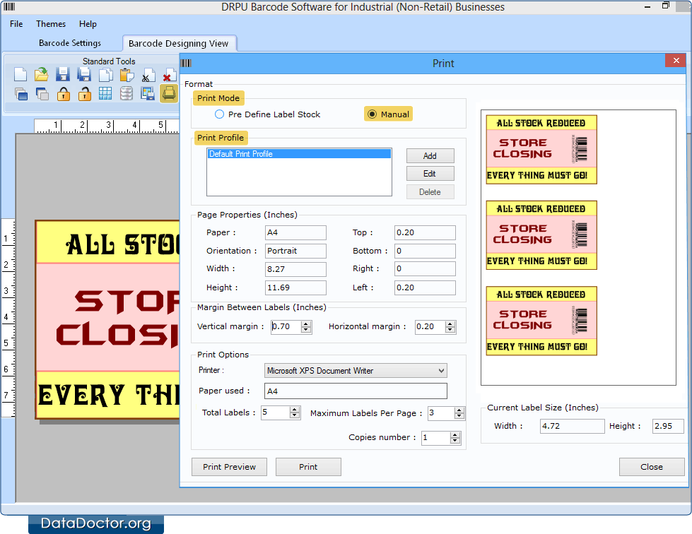 Industrial barcode software warehouse industry bar code