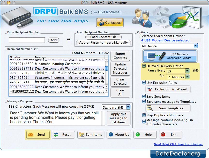 Send text messages using Mac Bulk SMS Software for USB Modems